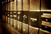 foto of law-books  - Row of old leather law books about Wills and Estates on a shelf - JPG