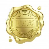 100% quality guarantee golden wax seal isolated on white background. 3d illustration poster