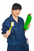 Happy Cleaning Worker Female
