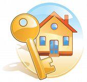 Key, New Home, Realty. Stylized Aqua Style Icon