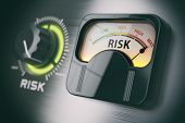 Risk of investment strategy concept. Swith knob positioned on maximum risk. 3d illustration poster