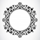 Vetor Floral Circle Frame