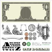 Set of detailed vector ornaments loosely based off a one dollar bill, includes vector illustrations
