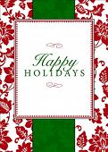 Vector holiday frame with sample text and pattern. Perfect as invitation or announcement. Pattern is