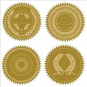 Set of vector gold seals. Great for awards and certificates. Easy to edit