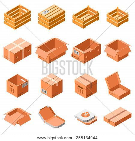 poster of Packing Box Icon Set. Isometric 3d Set Of Packing Box Vector Icons For Web Design Isolated On White