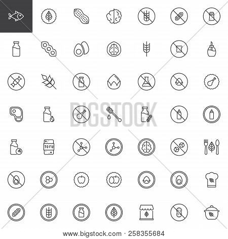 poster of Organic Food Outline Icons Set. Linear Style Symbols Collection, Line Signs Pack. Vector Graphics. S
