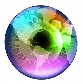 Earth Globe in multicolor human eye. EPS10 vector illustration.