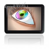 Fictitious design tablet PC and multicolor human eye. EPS 10 vector Illustration.