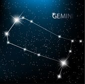 Gemini vector Zodiac sign bright stars in cosmos.