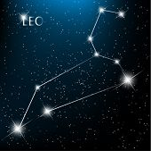 Leo vector Zodiac sign bright stars in cosmos.