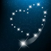 foto of love heart  - Space background with heart from bright stars in cosmos - JPG