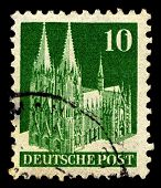 GERMANY-CIRCA 1948:A stamp printed in Germany shows image of Cologne Cathedral  is a Roman Catholic church in Cologne, Germany, circa 1948.