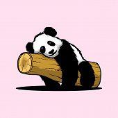 Panda Bear Illustration Curious Panda Wildlife And Panda Bear Vector Character. poster