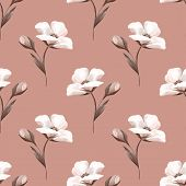 Pattern With White Flowers. Seamless Background Botany poster