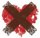 Vector Red Graphic Abstract Illustration Of Crossed-out Heart Sign With Ink Blots, Brush Strokes, Dr poster
