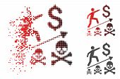 Deadly Business Achievement Icon In Dispersed, Pixelated Halftone And Undamaged Whole Variants. Elem poster