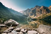 Tatra National Park, Poland. Famous Mountains Lake Morskie Oko Or Sea Eye Lake In Summer Morning. Fi poster