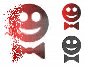 Glad Waiter Icon In Fractured, Dotted Halftone And Undamaged Solid Versions. Particles Are Grouped I poster