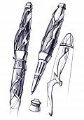 Draft Sketch Development Of The Design Of An Exclusive Pen And Ballpoint Pen. poster