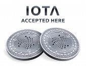 Iota. Accepted Sign Emblem. Crypto Currency. Silver Coins With Iota Symbol Isolated On White Backgro poster