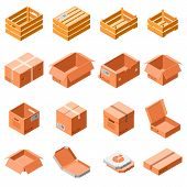 Packing Box Icon Set. Isometric 3d Set Of Packing Box Vector Icons For Web Design Isolated On White  poster