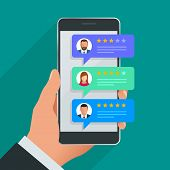 Customer Reviews. Review Rating On Mobile Phone, Feedback Vector Illustration. Reading Customer Revi poster