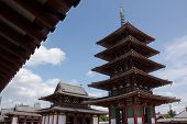 Five Storey Pagoda Of The Shitennoji Temple In Osaka