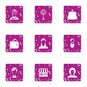 Private Practice Icons Set. Grunge Set Of 9 Private Practice Vector Icons For Web Isolated On White  poster