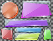 Vector Realistic Set Of Color Banners Under Transparent Glass Plates, Blank Shining Isolated Frames. poster