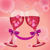 wine with hearts