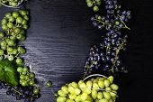Healthy Fruits Blue And Green Wine Grapes Dark Grapes, Bunch Of Wine Grapes On The Wooden Table Read poster