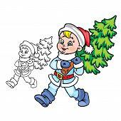 SantaBoywith Christmas tree
