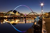 picture of tyne  - Newcastles quayside and bridges just after sundown showing the colourful lighting - JPG