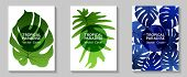 Tropical Paradise Leaves Vector Covers Set. Stylish Floral A4 Design. Exotic Tropic Plant Leaf Vecto poster