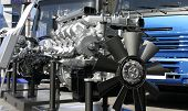 image of motor vehicles  - Diesel engine exposition at a motor - JPG