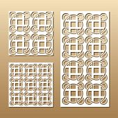 Die Cut Card. Laser Cut Vector Panel. Cutout Silhouette With Geometric Seamless Pattern. A Picture S poster
