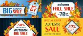 Autumn Sale Leaves. Halloween And Thanksgiving Fall Season Banner Concept Set. Cartoon Hand Drawn Il poster