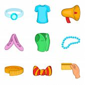 Shopping Trip Icons Set. Cartoon Set Of 9 Shopping Trip Icons For Web Isolated On White Background poster