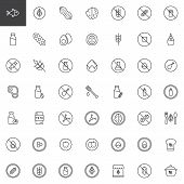 Organic Food Outline Icons Set. Linear Style Symbols Collection, Line Signs Pack. Vector Graphics. S poster