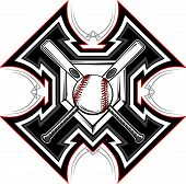 stock photo of fastpitch  - Baseball Bats Baseball and Home Plate with Tribal Borders Vector Graphic - JPG