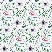 Seamless Pattern Of Pale Pink And White Anemone Flowers In Post-impressionism Style poster
