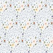 Seamless Pattern Of Pale Yellow, Pink And Blue Anemone Flowers In Post-impressionism Style poster