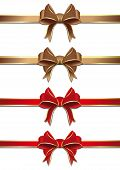 Gold And Red Ribbons With Bows Collection. Bows And Ribbons Set. Vector Illustration Isolated On Whi poster