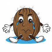 Vector Illustration Of Crying Coconut In Puddle Of Tears. Cartoon Tropical Personage. Drawing For St poster