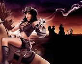 foto of cowgirl  - Cowgirl shooting gun - JPG