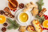 Christmas Flat Lay Desserts Of Different Countries (panforte, Cookies And Christmas Bread) Wth Tea O poster