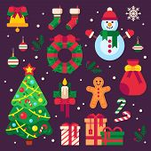 Colorful Christmas Items. Xmas Stocking, Garland Lights For Fir Tree And Santa Gifts. Winter Holiday poster