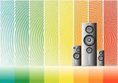 Music Speakers On A Rainbow Lined Background