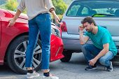 Argument Of Man And Woman About Car Crash Accident poster